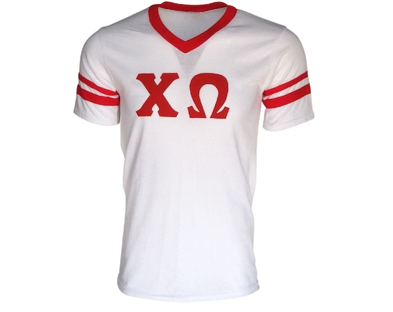 Chi Omega - Stripe Sleeve T-shirt Jersey