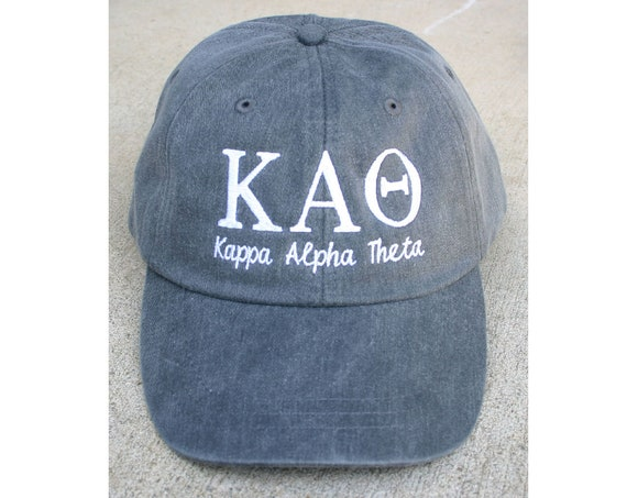 Kappa Alpha Theta script with BIG and LITTLE added to the back of baseball cap