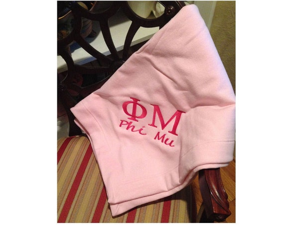 Phi Mu Embroidered Fleece Blanket