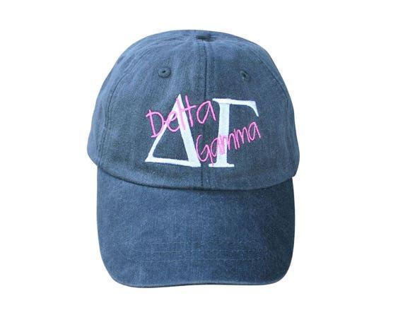 Delta Gamma baseball cap with overlay script