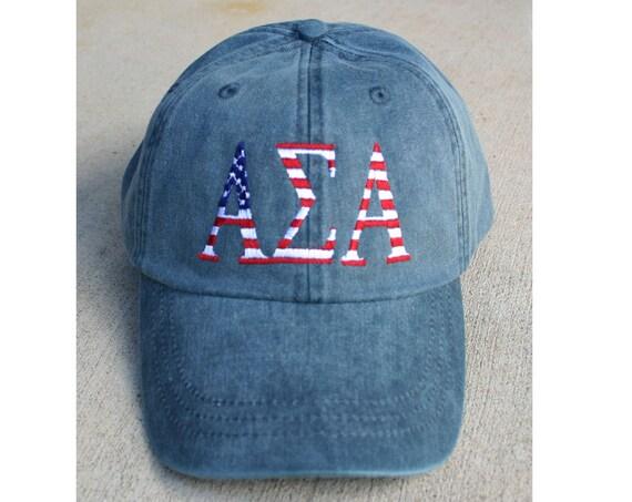 Custom Greek Letter American Flag Design Baseball Cap
