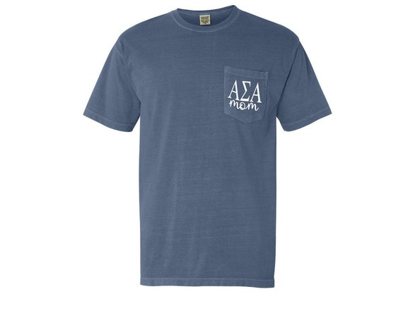 Alpha Sigma Alpha Mom Comfort Color Pocket T-shirt