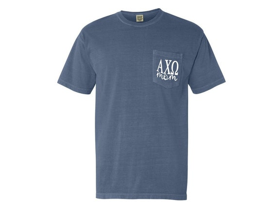 Alpha Chi Omega Mom Comfort Color Pocket T-shirt