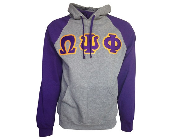 Omega Psi Phi Color Block Hooded Sweatshirt (Sewn on Letters)