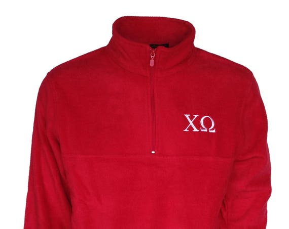 Chi Omega Fleece Quarter Zip Pullover (Red)