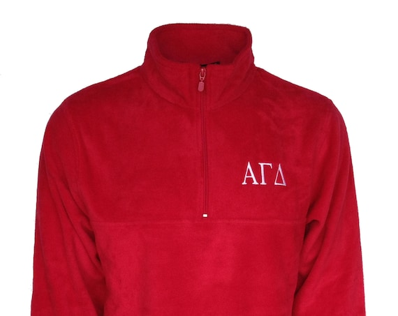 Alpha Gamma Delta Fleece Quarter Zip Pullover (Red)