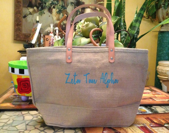 Zeta Tau Alpha  Jute Handbag