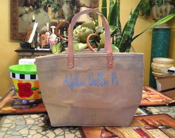 Alpha Delta Pi Jute Handbag