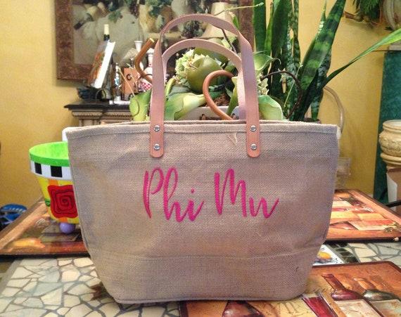 Phi Mu Jute Handbag