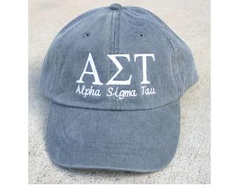 Alpha Sigma Tau with script baseball cap