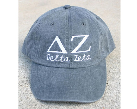 Delta Zeta script with BIG and LITTLE added to the back of baseball cap