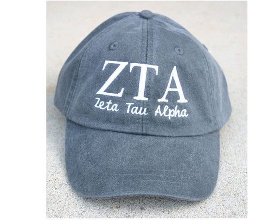 Zeta Tau Alpha with script baseball cap (Charcoal)