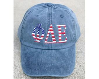 f4c4c958461f6 Delta Phi Epsilon American Flag Cap
