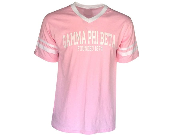 Gamma Phi Beta - Stripe Sleeve T-shirt Jersey - (Founders)