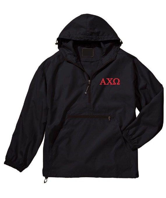 Alpha Chi Omega Unlined Anorak (Black)