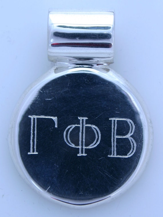 Sorority Round Silver Engraved Pendent