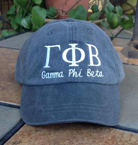 Gamma Phi Beta script with BIG and LITTLE added to the back of baseball cap