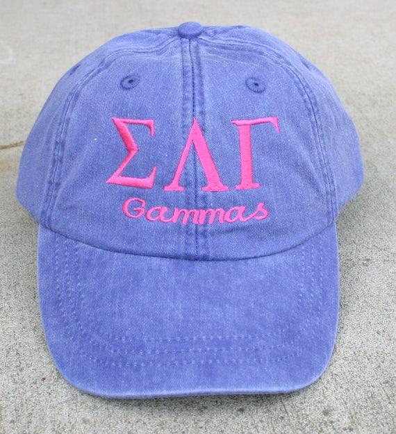 Sigma Lambda Gamma with script (Gammas) baseball cap