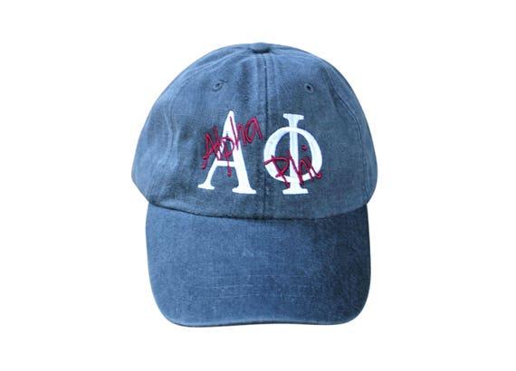 Alpha Phi baseball cap with overlay script