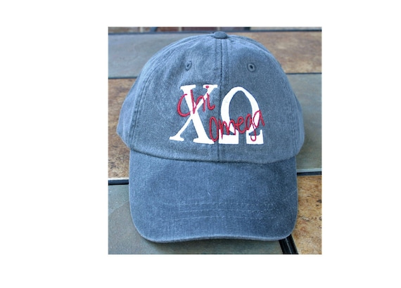 Custom baseball cap with greek letters and script overlay