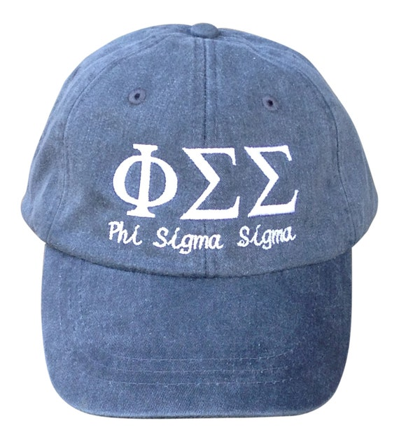 Phi Sigma Sigma with script baseball cap