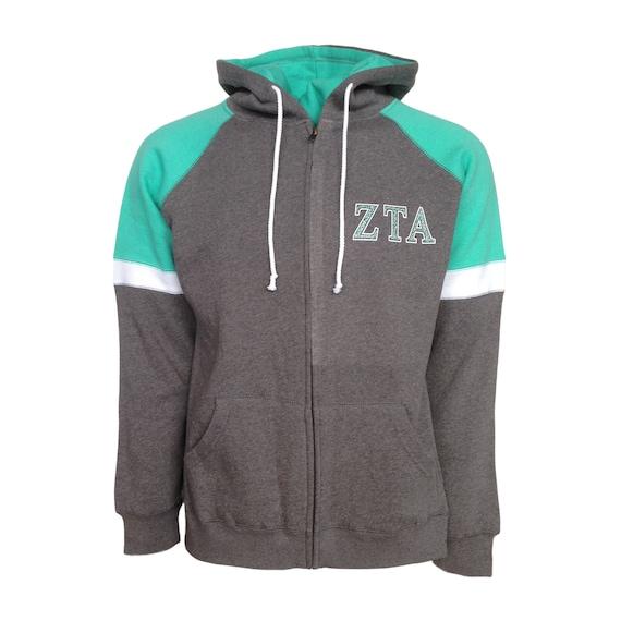 Zeta Tau Alpha Colorblock Full Zip Hooded Sweatshirt