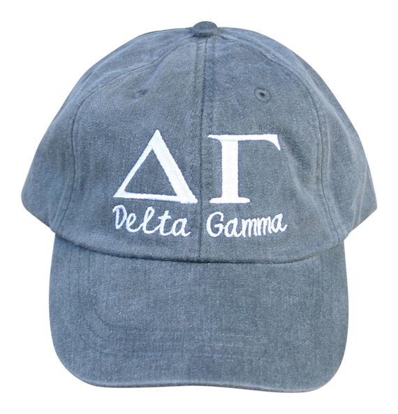 Delta Gamma script with BIG and LITTLE added to the back of baseball cap