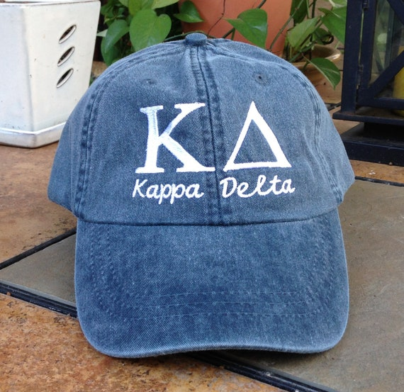 Kappa Delta script with BIG and LITTLE added to the back of baseball cap