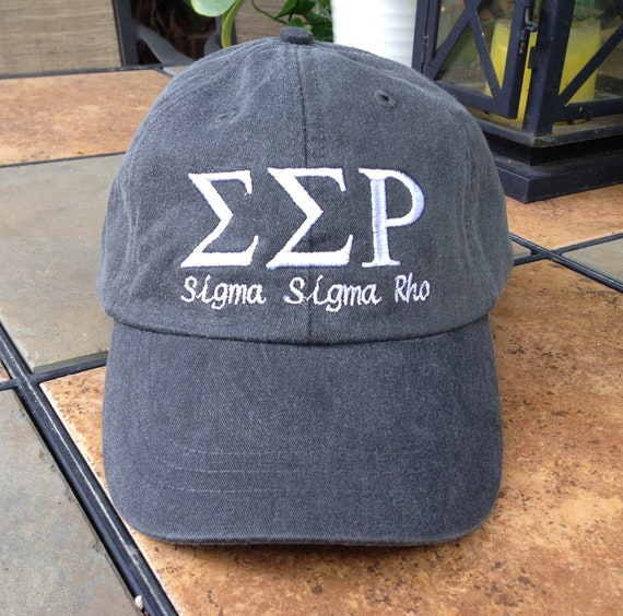 Sigma Sigma Rho with script baseball cap