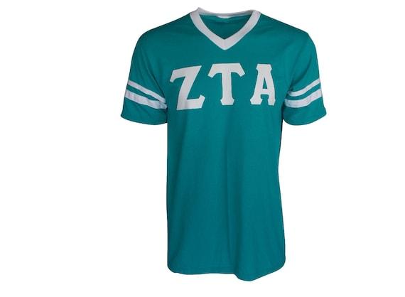Zeta Tau Alpha - Stripe Sleeve T-shirt Jersey (Medium, Teal)