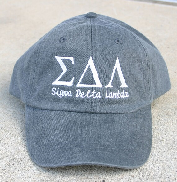 Sigma Delta Lambda with script baseball cap