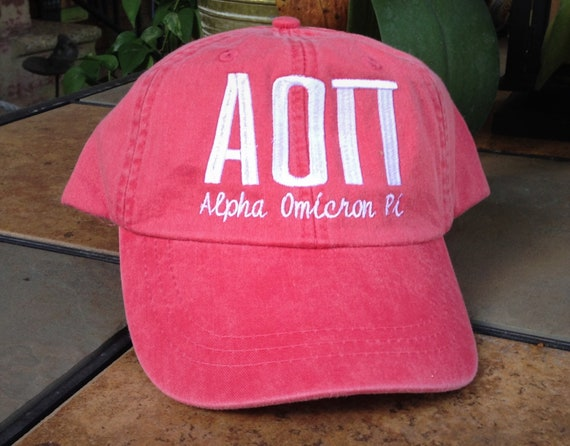Alpha Omicron Pi script with BIG and LITTLE added to the back of baseball cap