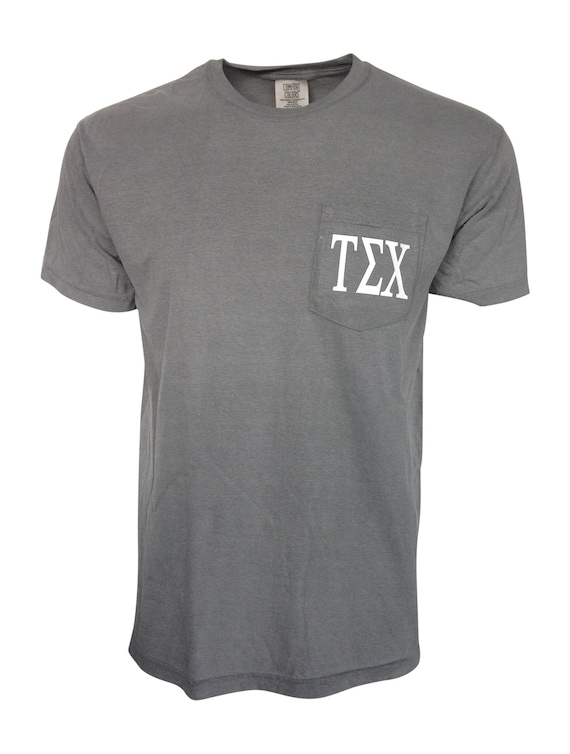 Custom Greek Letters Comfort Color Pocket T-shirt