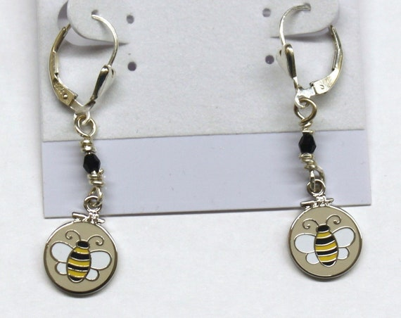 Sterling Silver Earrings with Swarovski crystals and Embroidery Hoop Bees