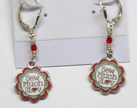 Sterling Silver Earrings with Swarovski crystals and SewMuch2Luv Logo