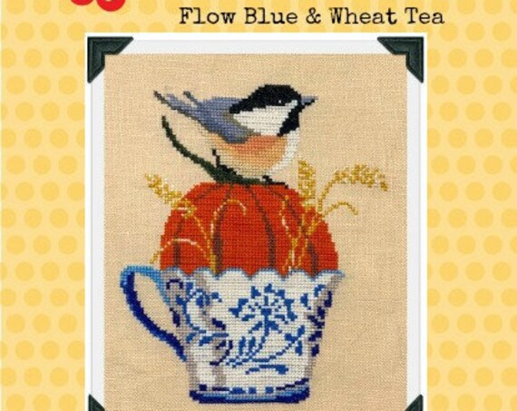 Flow Blue & Wheat Tea Cross Stitch Chart