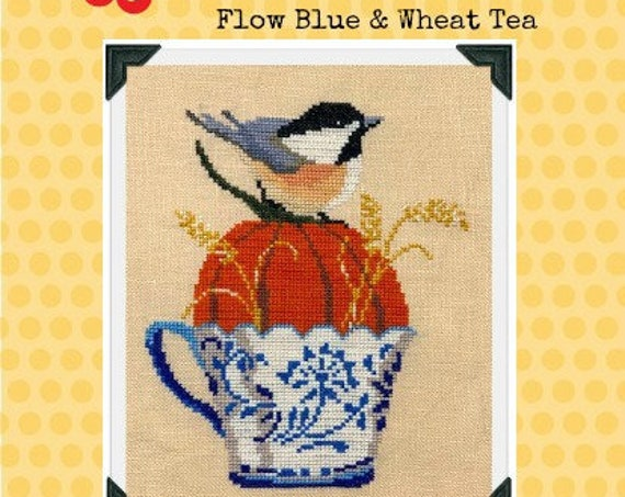 PDF INSTANT DOWNLOAD Flow Blue & Wheat Tea Cross Stitch Chart
