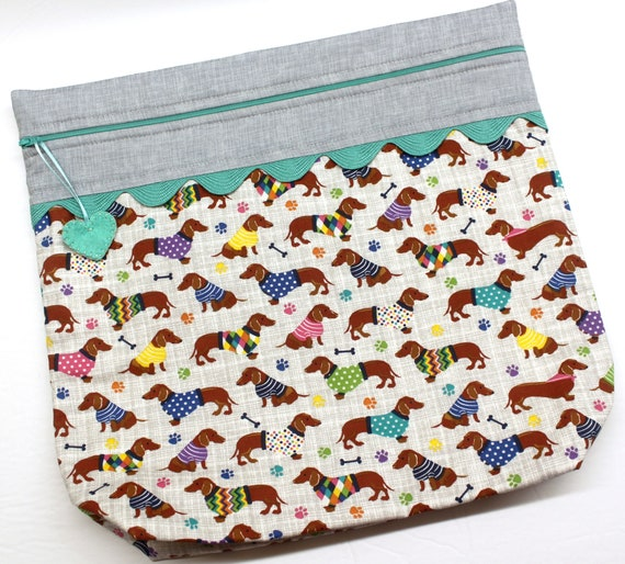 Dachshund  Choose Your Color Cross Stitch Project Bag