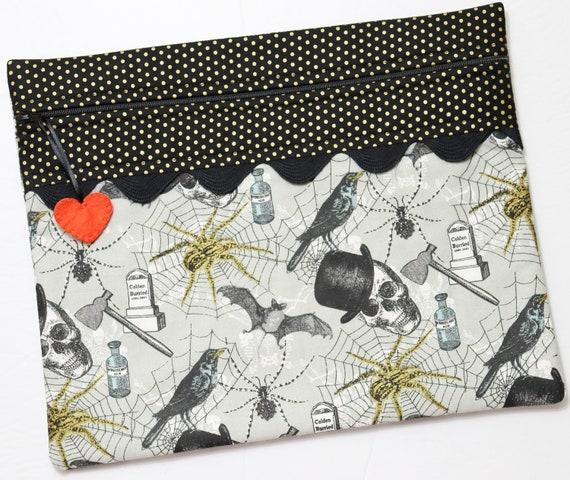 Golden Spiders Halloween Cross Stitch Project Bag
