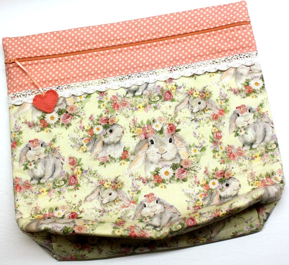 MORE2LUV Flower Crown Bunnies Cross Stitch Project Bag