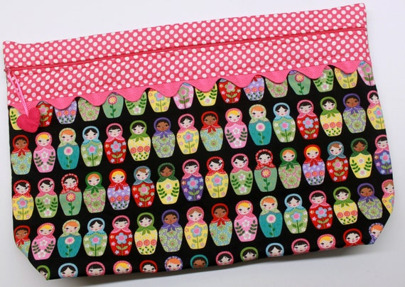 LOTS2LUV Matryoshka Dolls Cross Stitch Project Bag