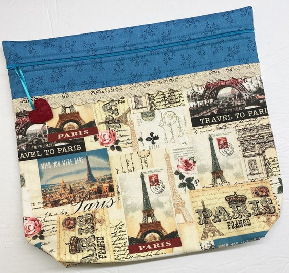 MORE2LUV Travel to Paris Cross Stitch Project Bag