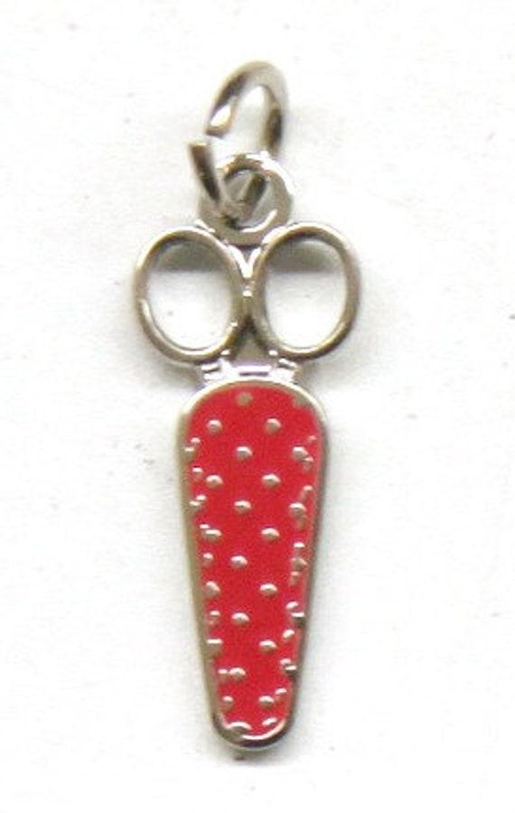"Exclusive Polka Dot Scissor 1/2"" Enamel Charm"