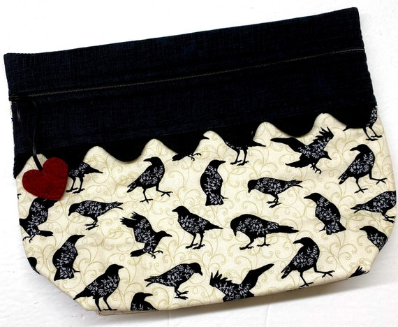 Lil' Big Bottom Primitive Crows Cross Stitch Bag