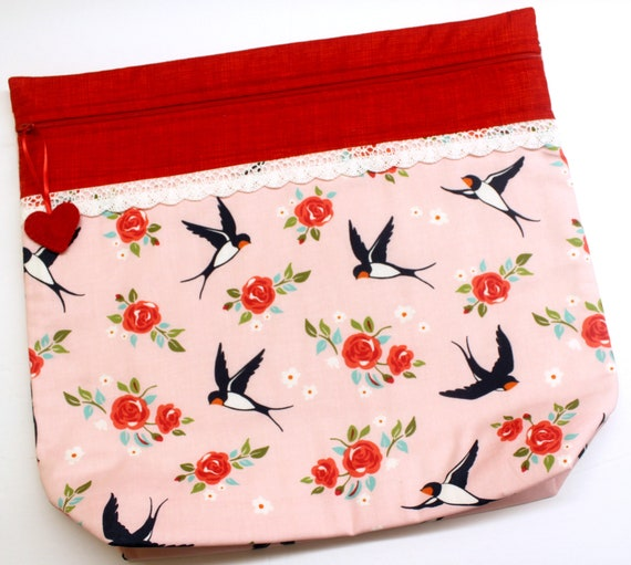 MORE2LUV Darling Swallows Cross Stitch Project Bag