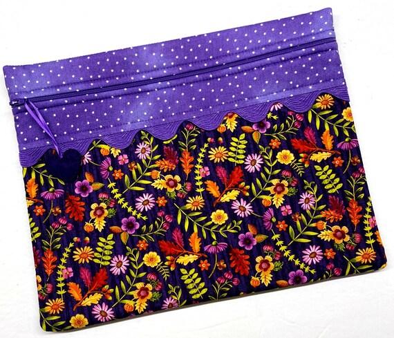 Purple Posies Cross Stitch Project Bag
