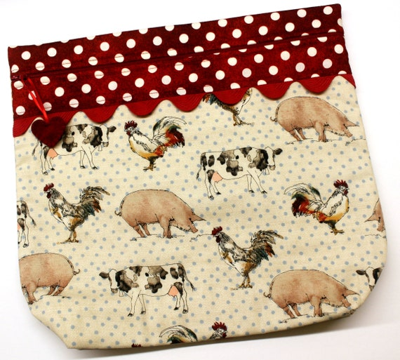 MORE2LUV Polka Dot Barnyard Cross Stitch Project Bag