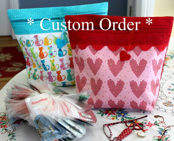 CUSTOM You Choose Fabric Big Bottom Bag Cross Stitch Embroidery Project Bag