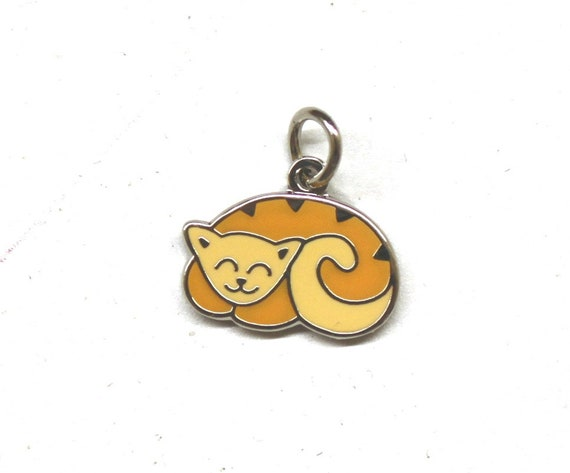 "Sleeping Tabby Cat 1/2"" Enamel Charm"