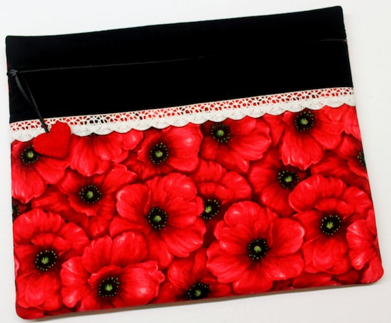 Red Poppies Cross Stitch Project Bag